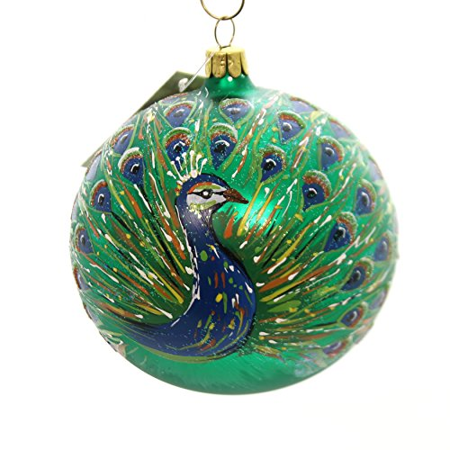Christina's World Rustic Peacock Ball Glass Ornament Christmas Plumage Art273