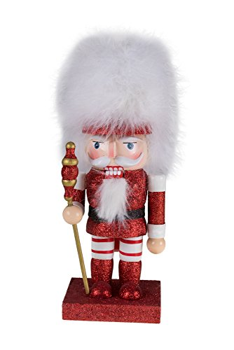 Clever Creations Traditional Soldier Nutcracker Holding Scepter and Wearing White Fur Hat | Red and White Glitter | Perfect Addition to Any Collection | Holiday Decor | 100% Wood | 10″ Tall
