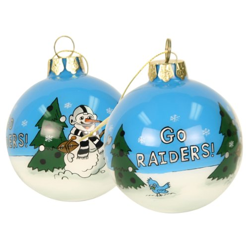 Blown Glass Hand Painted Sports Christmas Ornaments – Oakland Raiders