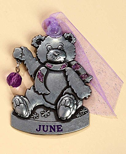 Gloria Duchin Birthstone Bear – June Christmas Ornament, Silver and Red