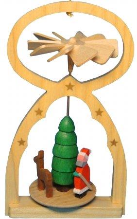 Alexander Taron 11709 Richard Glaesser Mini Pyramid Hanging Ornament – Santa – 5″ H x 3″ W x 2″ D Brown
