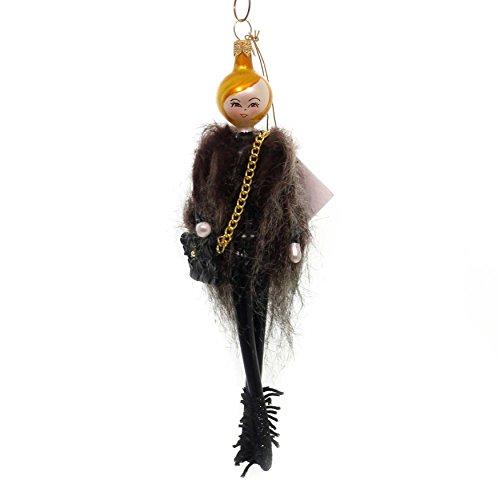 De Carlini Raegan in Fur Vest Glass Ornament Italian Black Boots Do7510
