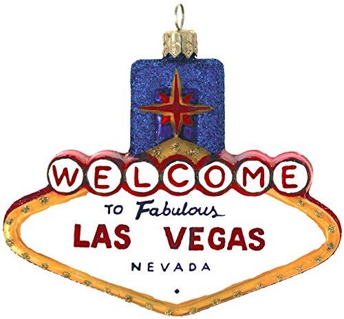 Landmark Creations Las Vegas Marquee Hand Blown European Glass Christmas Ornament