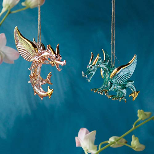 One Hundred 80 Degrees Glass Dragon Ornaments – Set of 2