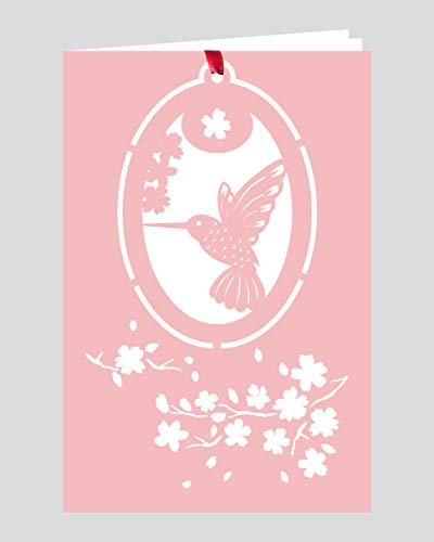Crystal Delight by Mascot (Set of 3) Greeting Card with Ornament – Hummingbird Cherry Blossom