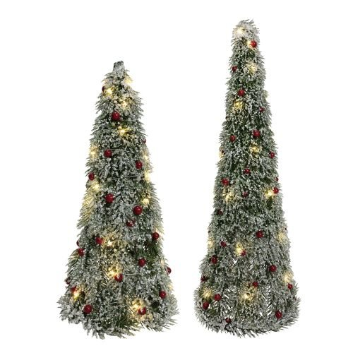 Department 56 Sparkle Lit Pine Berry, 24″, Set of 2 Tree Set, Green