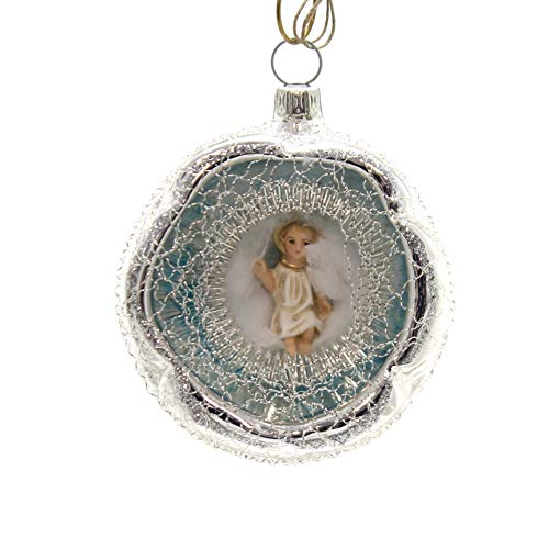 Marolin LYONESE Ornament w/Baby Jesus Ornament Gilded Feather Tree 2018131