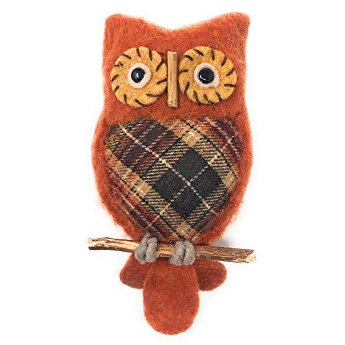 Sage & Co. 10.5-inch Plaid Owl on Perch Ornament, Orange/Multi