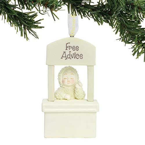"Department 56 Snowbabies ""Free Advice"" Porcelain, 3.5"" Hanging Ornament, Cream"
