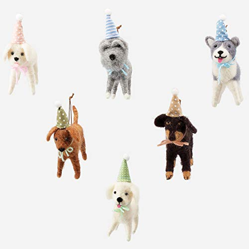 One Hundred 80 Degrees Felted Wool Party Dog Ornaments – Set of 6