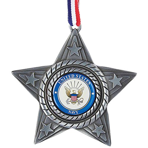 Kurt Adler U.S. Navy Metal Star Ornament