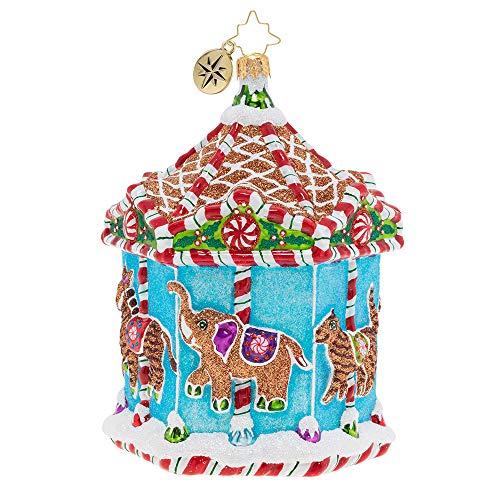 Christopher Radko Gingerbread Menagerie Carousel, Blue, red, White