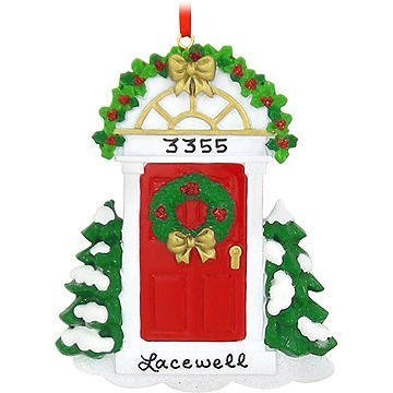 Red Door Personalized Christmas Tree Ornament by Rudolph and Me