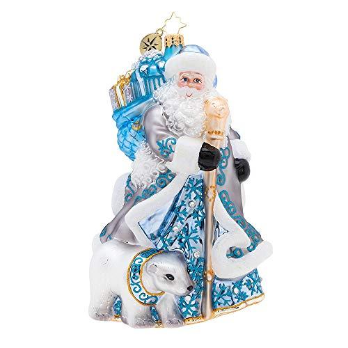 Christopher Radko Silver Lining Santa Christmas Ornament, Blue, White