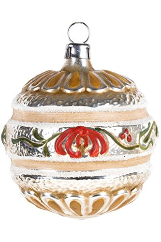 Marolin Ball with Blooms Band MA2011090 German Glass Ornament w/Gift Box