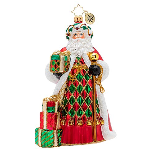 Christopher Radko Holiday Harlequin Santa Christmas Ornament, red, White, Green