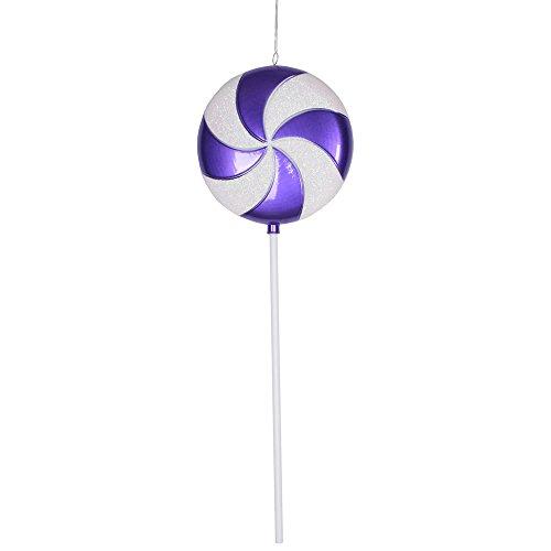 Vickerman Plastic Candy Lollipop with Iridescent Glitter, 24″, Purple and White