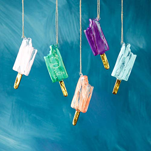 One Hundred 80 Degrees Marbleized Glass Popsicle Ornaments – Set of 5