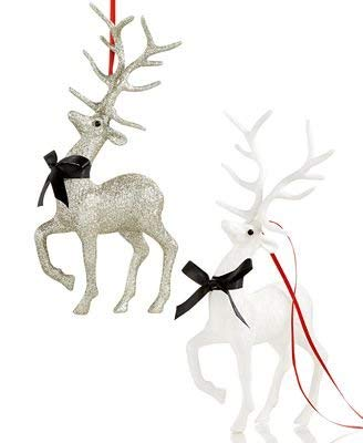 Holiday Lane Set of 2 Glitter Silver and White Deer Ornaments