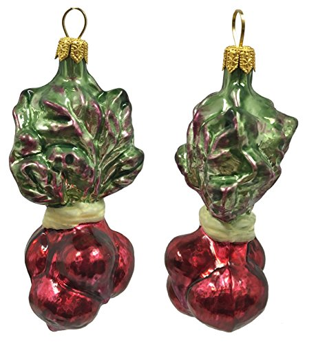 Pinnacle Peak Trading Company Red Beets Polish Glass Christmas Ornament Vegetable Food Decoration Set of 2