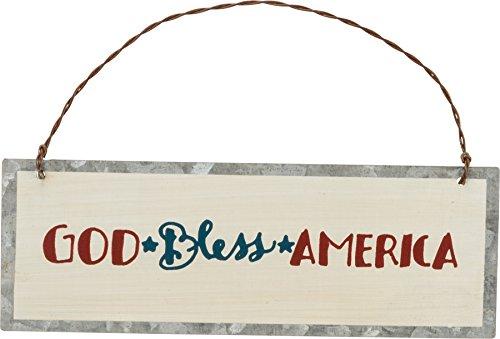 Primitives by Kathy PBK Patriotic July 4th Decor – God Bless America Tin Ornament