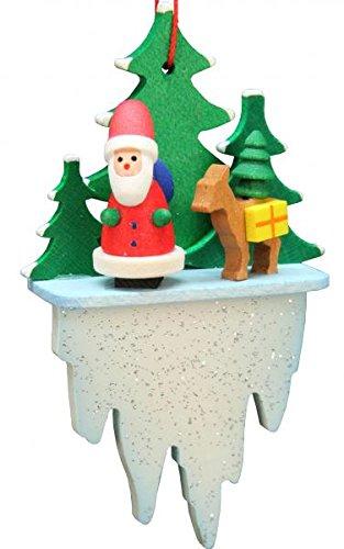 Alexander Taron 10-0627 Christian Ulbricht Ornament – Santa and Deer Icicle – 3″ H x 1.75″ W x .75″ D White