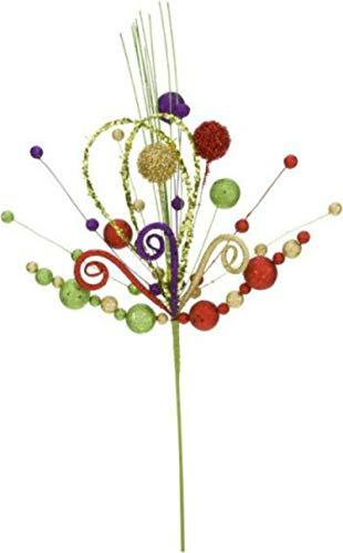 Mark Roberts 35″ Festive Color Floral Pick (Red, Green, Gold Purple) Christmas Mardi Gras Ornament