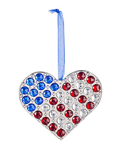 Ganz Crystal Expressions Acrylic Patriotic Heart Ornament ~ Red, White & Blue
