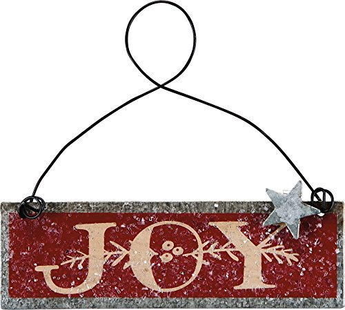 PBK Christmas Decor – Prim JOY Red Beige Tin Ornament