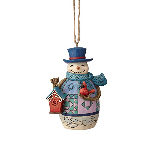Enesco Jim Shore Heartwood Creek Mini Snowman with Birdhouse Hanging Ornament, 3.375″, Multicolor