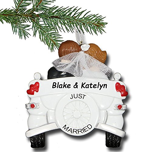 Rudolph and Me Personalized Just Married Christmas Ornament – Couple in Vintage Car Wedding Gift – Free Custom Names