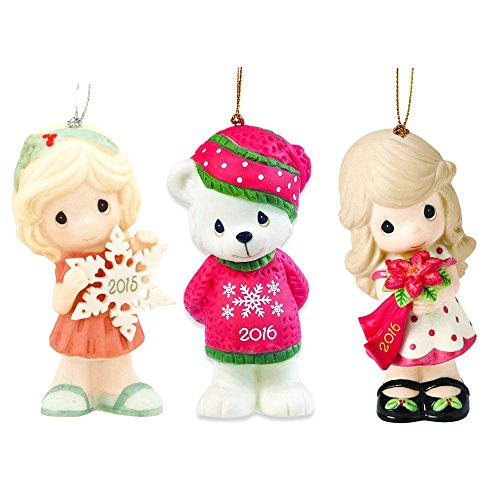 Precious Moments Ornaments Set – 3 Porcelain Christmas Ornaments, Figurines with Loop (Collectibles)