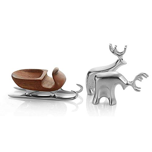 Nambe Miniature Sleigh with Reindeer Set