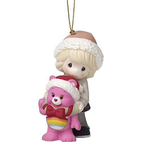 Precious Moments Surrounded By Christmas Cheer Care Bears Bisque Porcelain Ornament, 3.5-inches, 171052