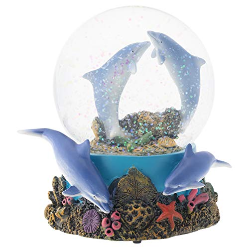 Elanze Designs Coral Reef Dolphin Pod 100MM Musical Water Globe Plays Tune Fur Elise