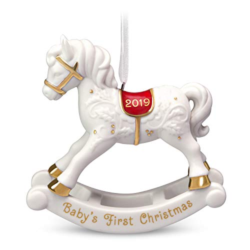 """Hallmark Keepsake 2019 Year Dated Mother's Day Gift """"Baby's First Christmas"""" Rocking Horse Porcelain Ornament"""