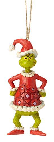 Enesco Dr. Seuss The Grinch by Jim Shore Dressed as Santa Hanging Ornament 5.04″ Multicolor