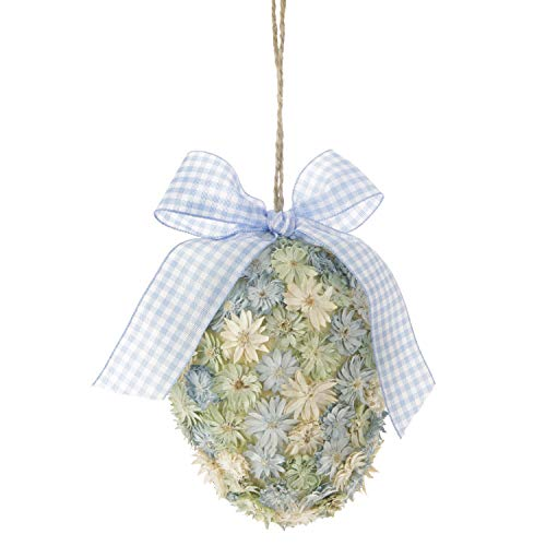 RAZ Imports Egg Shaped Flower Ornament for Spring Decor