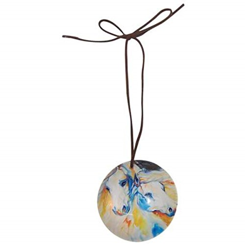 WL SS-WL-21031, Dreamers Spirit Theme Ball Ornament with Two White Horses Design