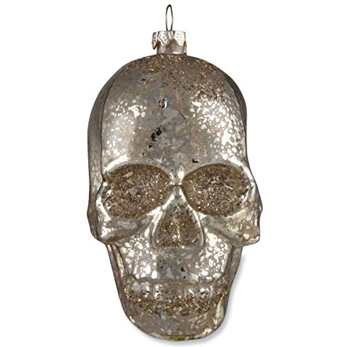 Bethany Lowe Mercury Glass Skull Ornament