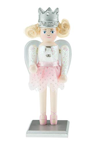 Clever Creations Chubby Sugar Plum Fairy Nutcracker | Traditional Chubby Fairy Nutcracker Wearing White Sparkly Top with Baby Pink Tutu and Ballerina Shoes | 7″ Tall with Clear and Silver Wings