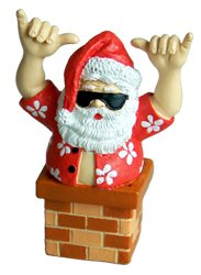 KC Hawaii Santa in a Chimney Ornament 3″