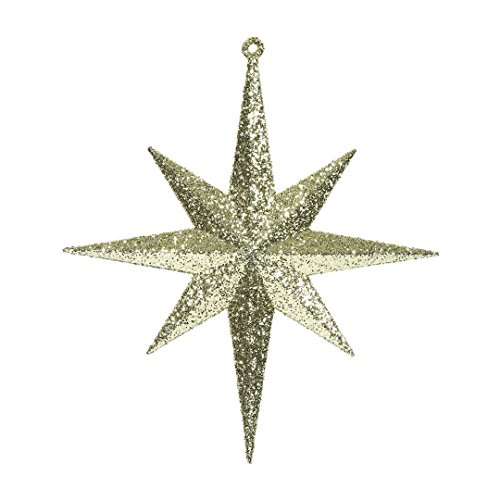 Vickerman M167208 Plastic Iridescent Glitter Bethlehem Star 4/Box, 8″, Gold