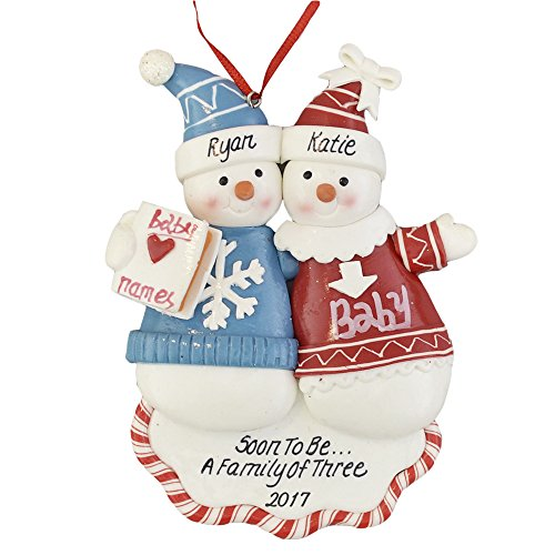 A Pregnant Couple Personalized Christmas Ornament – Calliope Designs – Soon to Be A Family of 3-2018 – 5″ Tall – Free Customization
