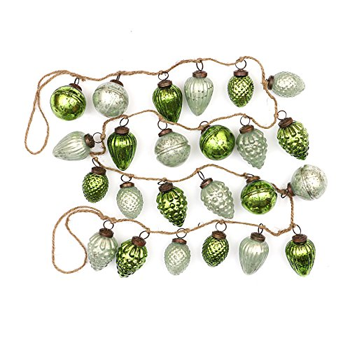 Creative Co-op Distressed Green Embossed Mercury Glass Ornament Rope String Garland,