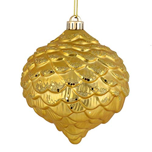 Vickerman 534779-6″ Gold Glitter Pine Cone Christmas Tree Ornament (6 pack) (N183808D)