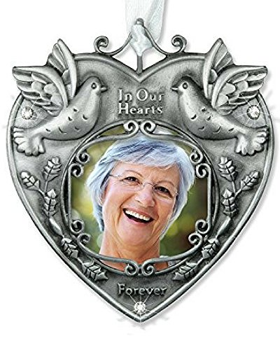 Memorial Photo Ornament — Beautiful Photo Bereavement Ornament Adorned with Doves and Sparkling Crystals — a Wonderful Remembrance Ornament to Hang on Your Christmas Tree in Memory of a Loved One