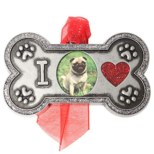 Gloria Duchin Pewter Dog Bone Pet Photo Christmas Ornament, Green
