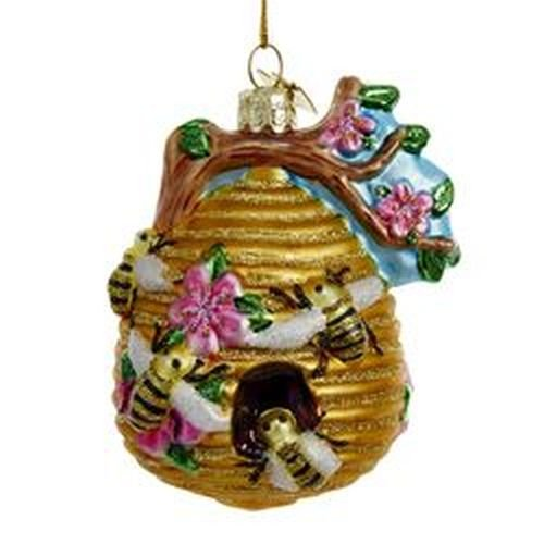 Kurt Adler Glass Glittered Beehive Ornament
