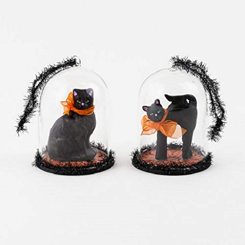 180 Degrees WB0169 5″ Black Cat Under Glass Dome Halloween Ornament Set of 2